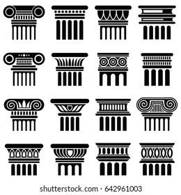 Ancient rome architecture column icons. Black silhouette column, old classical greek column illustration