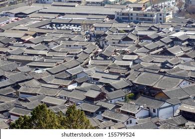 Ancient roof in Lijiang old town, Yunnan China