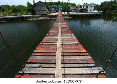 Ancient rope bridge; Pedal around the canals to Koo Tao Temple (Koo Tao Suspension Bridge), Hat Yai ,Songkhla ,Thailand