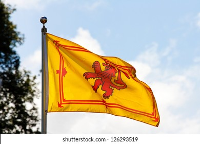 The ancient royal flag of the monarch of Scotland the Rampant Lion