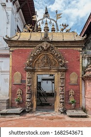 Ancient Royal Palace and Golden Gate on Durbar square in Bhaktapur Nepal, listed as a World Heritage by UNESCO