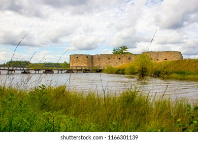 The ancient ruin of Kronoberg fortress near Vaxjo in Smaland in Sweden next to the lake Helgasjon is a famous tourist destination to explore historic fortresses.
