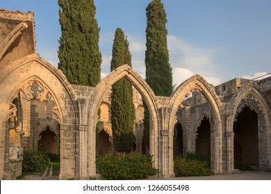 Ancient ruin of a monastery of the small village of Bellapais