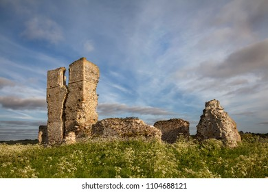 Ancient ruined church of St. James with beautiful sky located in Norfolk. Bawsey church buit in 1130 AD in the Norman period.
