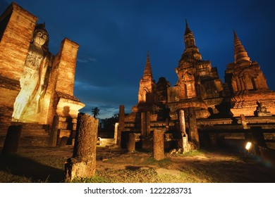 Ancient ruined Wat Mahathat in Sukhothai Historical Park, Sukhothai province, Thailand