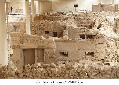 Ancient ruins of Akrotiri, Santorini, Greece