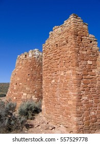 Ancient ruins of Ancestral Puebloan Twin Towers at Hovenweep National Monument in Colorado and Utah.