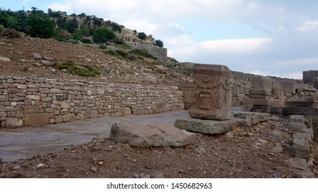 The ancient ruins of Athena Temple at Assos, Canakkale. Columns of Athena temple in Assos.
