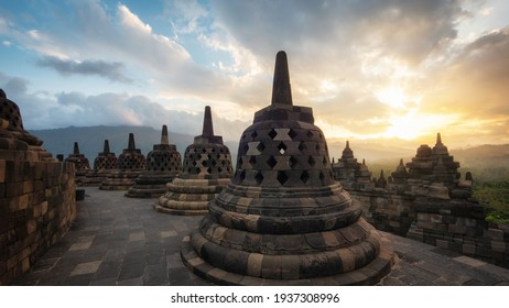 Ancient ruins of Borobudur, a 9th-century Mahayana Buddhist temple in Magelang Regency near Yogyakarta in Central Java, Indonesia.