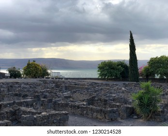 Ancient Ruins at Capernaum located on The North Shore of The Sea of Galilee in Israel.
