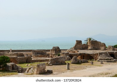 Ancient ruins at Carthage, Tunisia with the Mediterranean Sea