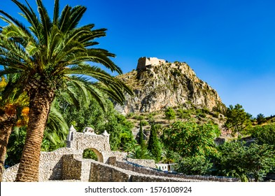 Ancient ruins in the center of Nafplio city, Greece against a deep blue sky. Beautiful scenery with Spring colors in Nafplio city, Argolis, Greece