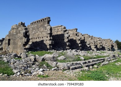 The ancient ruins of the ancient city of Aspendos
