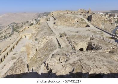 Ancient Ruins of The Crusader Castle of Kerak in Al-Karak, Jordan.