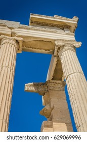 Ancient ruins of Erechtheum closeup, Acropolis, Athens