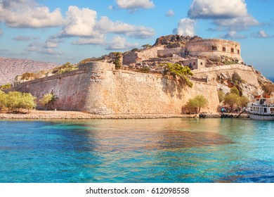 Ancient ruins of a fortified leper colony - Spinalonga (Kalydon) island, Greece