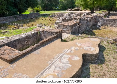 Ancient ruins of Great Baths (2nd century AD). Dion Archaeological Site, Pieria, Macedonia, Greece