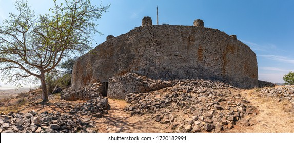 Ancient ruins of Great Zimbabwe (southern Africa) near Lake Mutirikwe during winter season