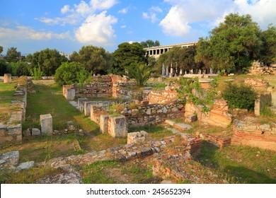 Ancient ruins of Greek Agora near the Acropolis, Athens, Greece