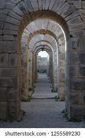 Ancient ruins of hallway in Acropolis of Bergama with Roman architecture (Pergamon).