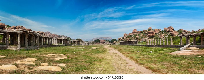 Ancient ruins of Hampi. Sule Bazaar, Hampi, Karnataka, India. Panorama