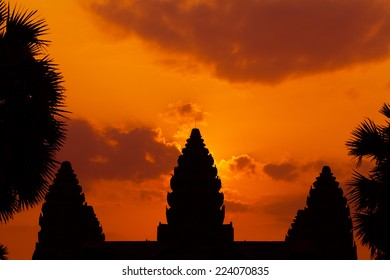 The ancient ruins of a historic Khmer temple in the temple complex of Angkor Wat in Cambodia on sunrise. Travel Cambodia concept.