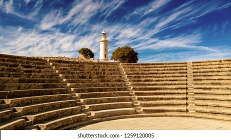 Ancient ruins of Kourion city near Pathos and Limassol, Cyprus. Lighthouse and theater under the blue sky. Travel outdoor background