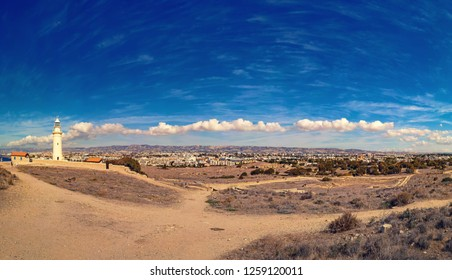 Ancient ruins of Kourion city near Pathos and Limassol, Cyprus. Lighthouse under the blue sky. Travel outdoor panoramic background