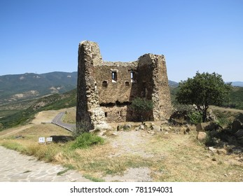 Ancient ruins, located not far from Mtskheta - one of the oldest cities of Georgia (country in Caucasus region of Eurasia), gorgeous view, sunny day
