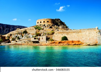 Ancient Ruins Of With Medieval Fortress Spinalonga Island Near Crete In Greece