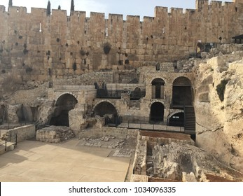 Ancient ruins - Mikvehs (ritual baths) near the entrance to the Second Temple in Jerusalem.