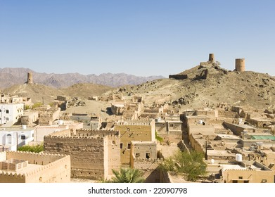 Ancient ruins from multiple tribal wars in Al Mudayrib in Oman.  Watchtowers ovelooking the village and surrounding areas.