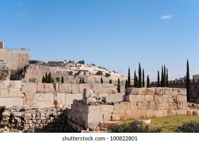 Ancient ruins near Temple mount in Jerusalem, Israel