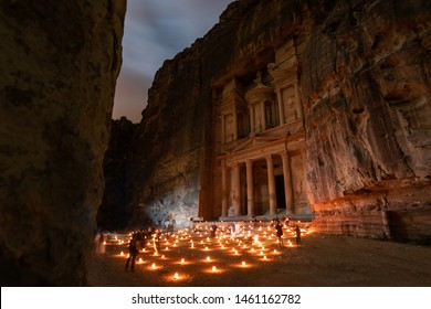 Ancient ruins of Petra by night, Jordan