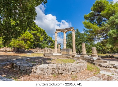 ancient ruins of the Philippeion in Ancient Olympia, birthplace of the Olympic games - UNESCO world heritage site