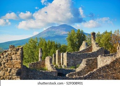 Ancient ruins in Pompeii, Roman town near modern Naples destroyed and buried under volcanic ash during eruption of Mount Vesuvius in 79 AD