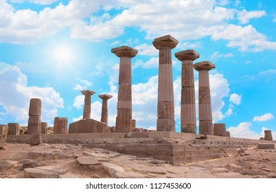 Ancient ruins of roman city Assos with Temple of Athena - Behramkale, Canakkale