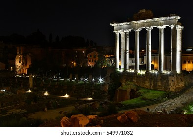 The ancient ruins of the Roman Forum in Rome, Italy at night; long exposition and HDR (high dynamic range) style.