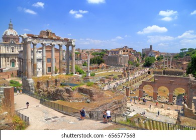 Ancient ruins of the Roman forum in Rome, Italy