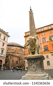 Ancient ruins in Rome (Italy) - Minerva's Pulcino (Elephant and Obelisk) and Panteon