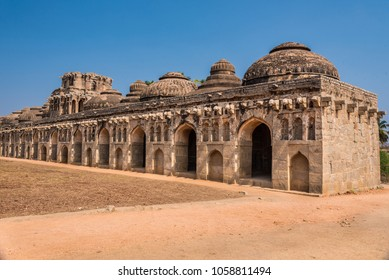 Ancient ruins of the Royal Elephant Stables at Hampi from 14th century Vijayanagara kingdom is now a famous world heritage site