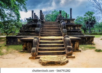 Ancient ruins Sri Lanka.Polonnaruwa temple.Medieval capital of Ceylon.Travel Sri Lanka.