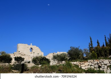 Ancient ruins of St. George church in Taybeh, Palestine