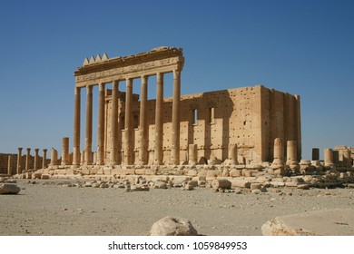Ancient ruins of the Temple of Bel at Palmyra before the conflict, Syria