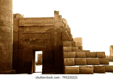 ancient ruins of the Temple of Kom Ombo in Egypt, with egyptian engravings on the columns