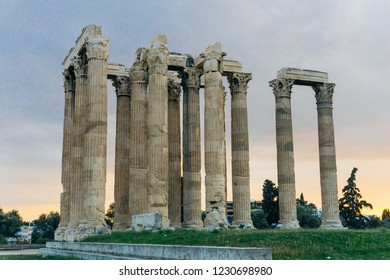 The ancient ruins of the Temple of Olympian Zeus in Athens (Olympieion or Columns of the Olympian Zeus) on the sunset