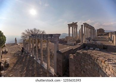 The ancient ruins of the temple of Trajan in Acropolis (Akropolis) of Pergamon (Bergama) with wide angle view.
