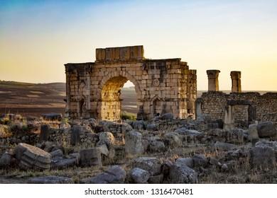 Ancient ruins in Volubilis