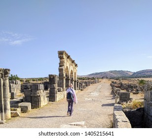 Ancient ruins in Volubilis, in northern Morocco.