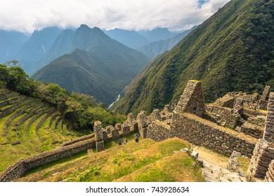 Ancient ruins of Winay Wayna on the Inca Trail, Peru